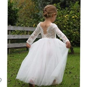 Lace Tulle Backless Long Sleeve A Line Dress 3T
